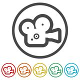 Cinema camera icon, 6 Colors Included. Simple  icons set Stock Photography