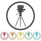 Cinema camera icon, 6 Colors Included. Simple vector icons set Royalty Free Stock Image