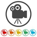 Cinema camera icon, 6 Colors Included. Simple vector icons set Royalty Free Stock Images