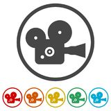 Cinema camera icon, 6 Colors Included. Simple vector icons set Stock Images