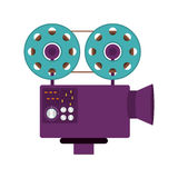 Cinema camera icon. Cinema digital camera with film reels icon over white background. vector illustration Royalty Free Stock Photos