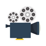 Cinema camera icon. Cinema camera with films reels over white background. vector illustration Stock Photography