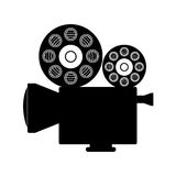 Cinema camera icon. Cinema camera with films reels over white background. vector illustration Stock Photo