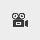 Cinema camera icon in a flat design in black color. Vector illustration eps10 Stock Image