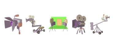 Cinema camera icon set, cartoon style. Cinema camera icon set. Cartoon set of cinema camera vector icons for web design isolated on white background Stock Photography