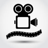 Cinema camera icon, vector illustration. Cinema camera icon on grey background with shadow, vector illustration Stock Photography