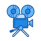 Cinema camera line icon. Cinema camera vector line icon isolated on white background. Cinema camera line icon for infographic, website or app. Blue icon Royalty Free Stock Image
