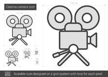 Cinema camera line icon. Cinema camera vector line icon isolated on white background. Cinema camera line icon for infographic, website or app. Scalable icon Stock Images