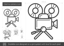 Cinema camera line icon. Cinema camera vector line icon isolated on white background. Cinema camera line icon for infographic, website or app. Scalable icon Royalty Free Stock Image