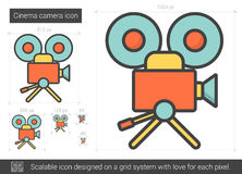 Cinema camera line icon. Cinema camera vector line icon isolated on white background. Cinema camera line icon for infographic, website or app. Scalable icon Stock Photography