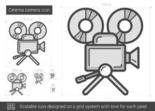 Cinema camera line icon. Cinema camera vector line icon isolated on white background. Cinema camera line icon for infographic, website or app. Scalable icon Stock Photos