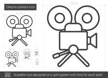 Cinema camera line icon. Cinema camera vector line icon isolated on white background. Cinema camera line icon for infographic, website or app. Scalable icon Stock Photo
