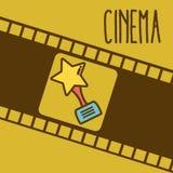 Cinema cartoon symbol over reel background. Cinema cartoon award over colorful reel background vector illustration graphic design Royalty Free Stock Image