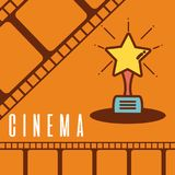 Cinema cartoon symbol over reel background. Cinema cartoon award over colorful reel background vector illustration graphic design Stock Photos