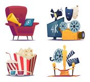 Cinema cartoon. Entertainment conceptual collections with symbols of cinema and theatre megaphone masks popcorn glasses royalty free illustration