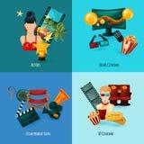 Cinema Cartoon Set. Cinema design concept set with actors film production cartoon icons isolated vector illustration Stock Photography