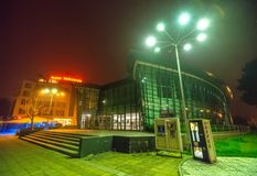 Cinema in the central square of the night Pomorie. Bulgaria royalty free stock image