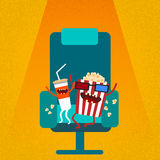 Cinema Chair Film Movie Seat Cartoon Cola Popcorn Stock Images