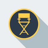 Cinema chair icon. Film directors chair . Work on the set of the film. Flat vector cartoon illustration. Objects isolated on a white background Stock Image