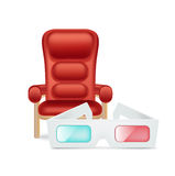 Cinema chair and movie glasses isolated Royalty Free Stock Photography