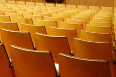 Cinema chairs. Empty cinema interior with yellow seats Stock Photo