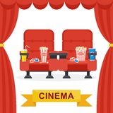 Cinema chairs curtains Royalty Free Stock Photography
