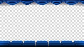 Cinema Chairs Vector. Film, Movie, Theater, Auditorium With Blue Seat, Chairs. Premiere Event Template. Super Show. Isolated Illustration Royalty Free Stock Image