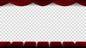 Cinema Chairs Vector. Film, Movie, Theater, Auditorium With Red Seat, Row Of Chairs. Blank Screen. On. Cinema Chairs Vector. Film, Movie, Theater, Auditorium vector illustration