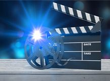 Cinema. Clapboard clapper clapperboard curtain director effect Stock Photo