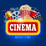 Cinema. Concept design template with popcorn, drink, clapping board and other objects on tograph theme. Realistic vector illustration Royalty Free Stock Images