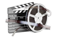 Cinema and cinematography concept. Clapperboard with film reels,. 3D rendering on white background Stock Photos