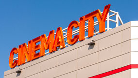 Cinema City logo neon billboard Stock Image