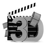 Cinema Clap and 3D Symbol. On white background Royalty Free Stock Photo
