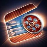 Cinema clap on blue background. 3D rendered Royalty Free Stock Photos