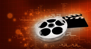 Cinema clap and film reel. 3d illustration of cinema clap and film reel, over abstract background Royalty Free Stock Image