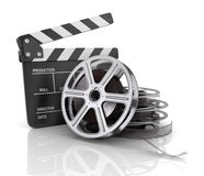Cinema clap and film reel, Royalty Free Stock Photography