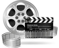 Cinema clap and film reel  on white. Illustration of cinema clap and film reel  on white Royalty Free Stock Image