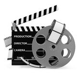 Cinema Clap and Film Roll. On white background Royalty Free Stock Image