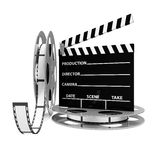 Cinema Clap and Film Rolls. On white background Stock Image