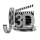 Cinema Clap and Film Rolls with 3D Symbol. On white background Royalty Free Stock Photos