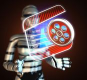 Cinema clap on futuristic  hologram. Cinema clap on  futuristic hologram Stock Photos