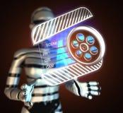 Cinema clap on  futuristic hologram. Cinema clap on futuristic  hologram Royalty Free Stock Photos