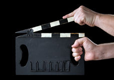 Cinema clapboard. It is isolated on a black background Royalty Free Stock Image