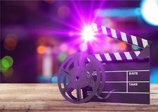 Cinema. Clapboard clapper clapperboard curtain director effect Royalty Free Stock Images