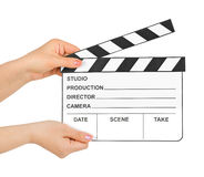 Cinema clapboard in hands Stock Photos