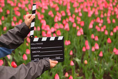 Cinema clapper board in hands of boy Royalty Free Stock Image