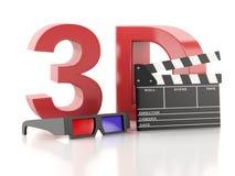 Cinema clapper and 3d glasses. 3d illustration Stock Photos