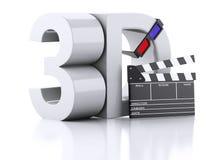 Cinema clapper and 3d glasses. 3d illustration. Cinema clapper and 3d glasses. cinematography concept. 3d illustration Stock Photo