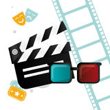 Cinema clapper 3d glasses tickets and filmstrip emblem. Vector illustration eps 10 Stock Photos