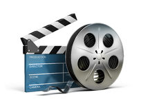 Cinema clapper and film tape. 3d image. White background Royalty Free Stock Image